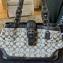 Authentic Coach Purse E0851-F12642. Signature Bag Brown/ Leather /cloth Used Photo