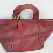 Authentic Coach Purse  Hand Bag Leather Wine Brown  Photo