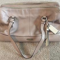Authentic Coach Purse- Tan/gray With Light Purple Lining  - Good Condition  Photo