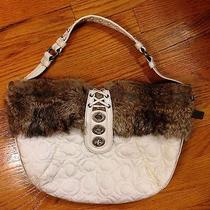Authentic Coach Quilted Hobo With Rabbit Fur Photo