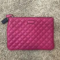 Authentic Coach Quilted Leather Tech Pouch Case Magenta Pink F66439  Photo