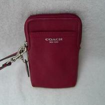 Authentic Coach Red Leather Wristlet/pouch  Euc Photo