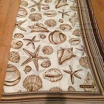Authentic Coach Resort Shells 40x40 Brown Scarf Nwt 118 Photo