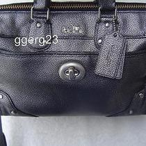 Authentic Coach Rhyder 24 Gun Metal Metallic Leather Mini Satchel 33684 Euc Photo