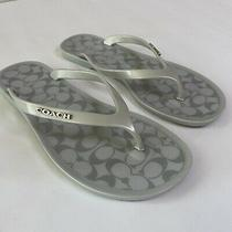 Authentic Coach Sandals Flip Flops C Style Logo Print Sole White Sz 5 Excellent Photo