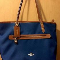 Authentic Coach Sawyer Canvas Tote  Blue & Saddle Leather Trim. Barely Used. Photo