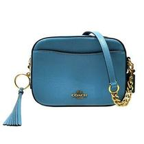Authentic Coach Shoulder Crossbody Bag 29411 Leather Blue Ghw Used Tassel  Photo