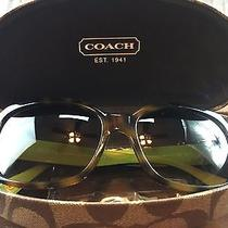 Authentic Coach Signature Emma Tortoise Green Sunglasses W/ Hard Shell Case Euc Photo