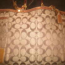 Authentic Coach Signature Handbag Purse Carry All -Tote- Brown - Pretty Color Photo