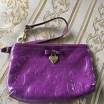 Authentic Coach Signature Patent Leather Wristlet Purple Heart Nwot Photo