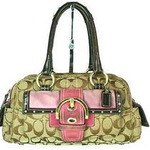 Authentic Coach Signature Peyton Sateen Canvas Leather Beige Handbag K05q-6423 Photo