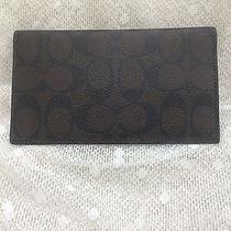 Authentic Coach Signature Pvc Brown/black Check Book Cover Wallet Nwot Photo
