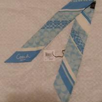 Authentic Coach Signature Slate Blue Cream Scarf Pontail Headband Silk F98892 Photo