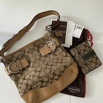 Authentic Coach Signature Soft Duffle/purse 3574 - Khaki/retro Camel With Wallet Photo