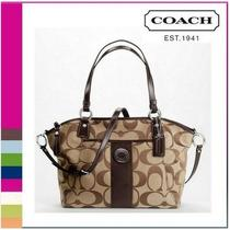 Authentic Coach Signature Stripe Pocket Tote/cross Body Bag W/ Leather Trim  Photo