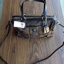 Authentic Coach Signature Stripe Satchel F24364 Mahogany Brown Nwt Photo