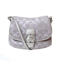 Authentic Coach Silver Cc Plus Canvas W/ Silver Leather Messenger Crossbody Bag Photo