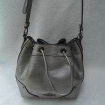 Authentic Coach Silver Leather Drawstring Baby Mickie Satchel 35363 Fair Photo