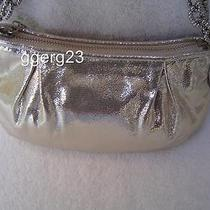 Authentic Coach Silver Shimmer Leather Small Evening Bag  14935 Euc Photo