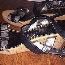 Authentic Coach Sling Back Wedges Women's Size 9m Leather Straps Photo