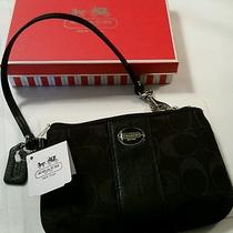 Authentic Coach Small Black Canvas Wristlet With Gift Box Nwt Photo