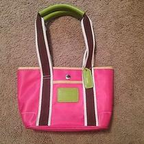 Authentic Coach Small Handbag Pink & Green Photo