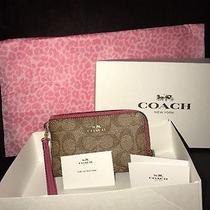 Authentic Coach Small Wristlet Im/khaki/ Dahlia Nwt Box & Tissue Paperf64131 Photo
