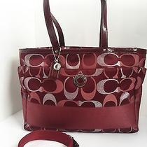 Authentic Coach Stripe Dark Red Signature 3 Color Tote Large Diaper Handbag Photo