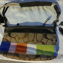 Authentic Coach Tan Signature Clutch W/ Multi Color Patch Accents Photo
