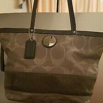 Authentic Coach Tan Signature Stripe Tote Shoulder Bag 18365 Photo