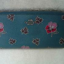 Authentic Coach Teal Wild Flower Print Pvc Zip Around Wallet 15155   Euc Photo