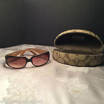 Authentic Coach Tortoise Delphine S443 Brown Women's Sunglasses  (W) Photo