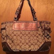 Authentic Coach Tote Bag Handbag Cute Tan Bronze Signature Photo