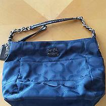 Authentic Coach Tribeca Op Art Lurex 14188 Purse Handbag - Navy Photo