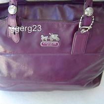 Authentic Coach Tribeca Purple/plum Patent Leather Tote 14123 Guc Photo
