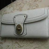 Authentic Coach Trifold Beige Leather Women's Wallet Photo