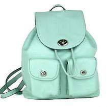 Authentic Coach Turn Lock Mint Leather Back Pack Shoulder Bag Backpack Purse  Photo