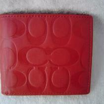 Authentic Coach Vintage Red Signature Emossed Leather Bi Fold Wallet  Euc/ln Photo
