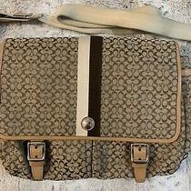 Authentic Coach Voyage Signature Messenger Bag Khaki Fabric Leatherbriefcase Photo