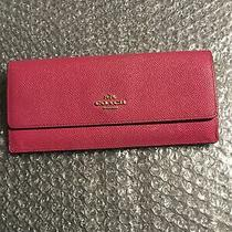 Authentic Coach Wallet Card   Holder Red Pebbled Leather  Coin Clutch Photo