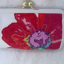 Authentic Coach White Leather Floral Applique Framed Wristlet/clutch  Euc Photo