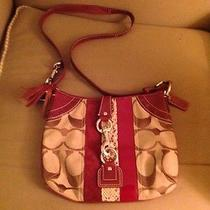Authentic Coach Wine on Khaki Signature Hobo Bag W/ Wine Leather Trim 10265 Photo