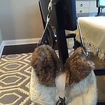 Authentic Coach Winter White Quilted Hobo Handbag Purse With Rabbit Fur Trim Photo