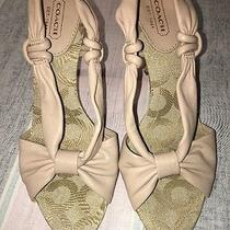 Authentic Coach Women's Nude Leather Sandals Size 6.5 M Monogram Foot Bed Photo