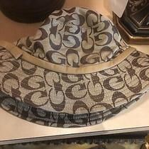 Authentic Coach Womens Monogram Bucket Hat Brown One Size Fit Photo