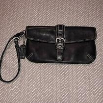 Authentic Coach Wristlet Black Leather Evening Bag Photo