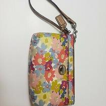 Authentic Coach Wristlet Multi Color Flower Pattern Photo