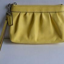 Authentic Coach Yellow Wristlet Wallet Small Patent Leather Pouch Photo