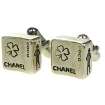 Authentic Coco Chanel Logos Cuffs Button Silver 925 Accessory Vintaege 02c341y Photo