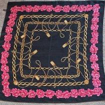 Authentic Coco Chanel Rose & Chains Wrap Scarf Shawl Paris Sheer 34x34 Vtg Black Photo